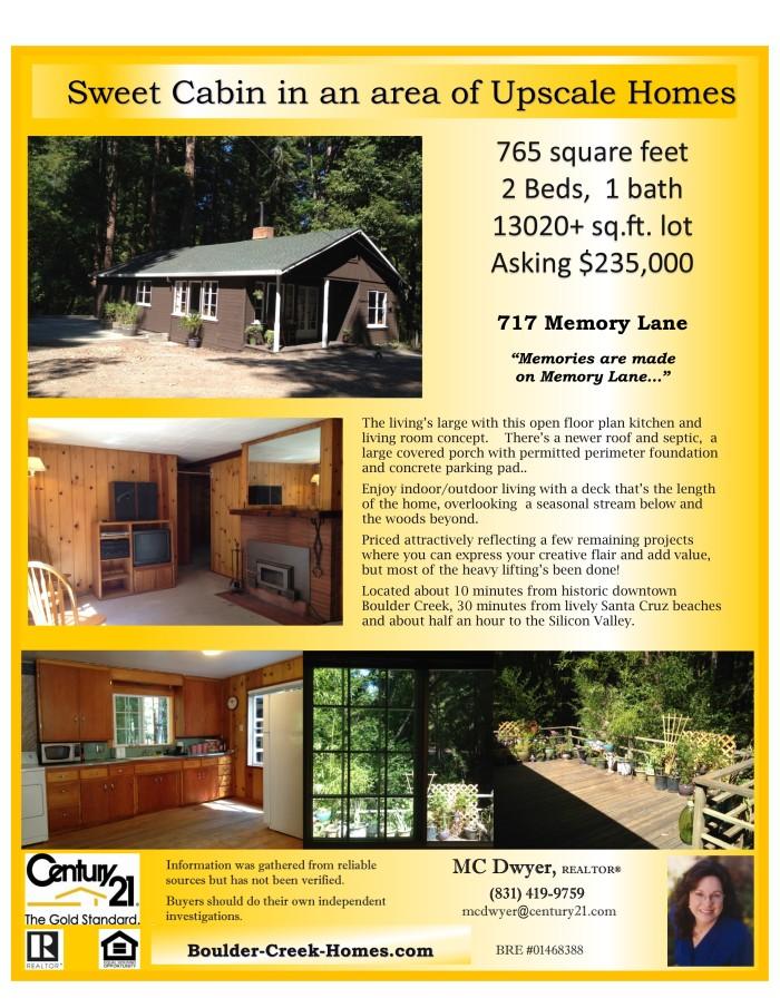Sweet Boulder Creek Cabin in the Woods
